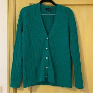 Land's End Kelly Green Cable Knit Cardigan LP